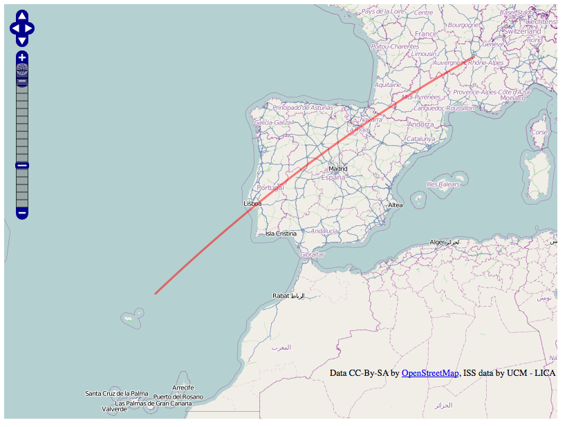 ISS track over Spain (example)