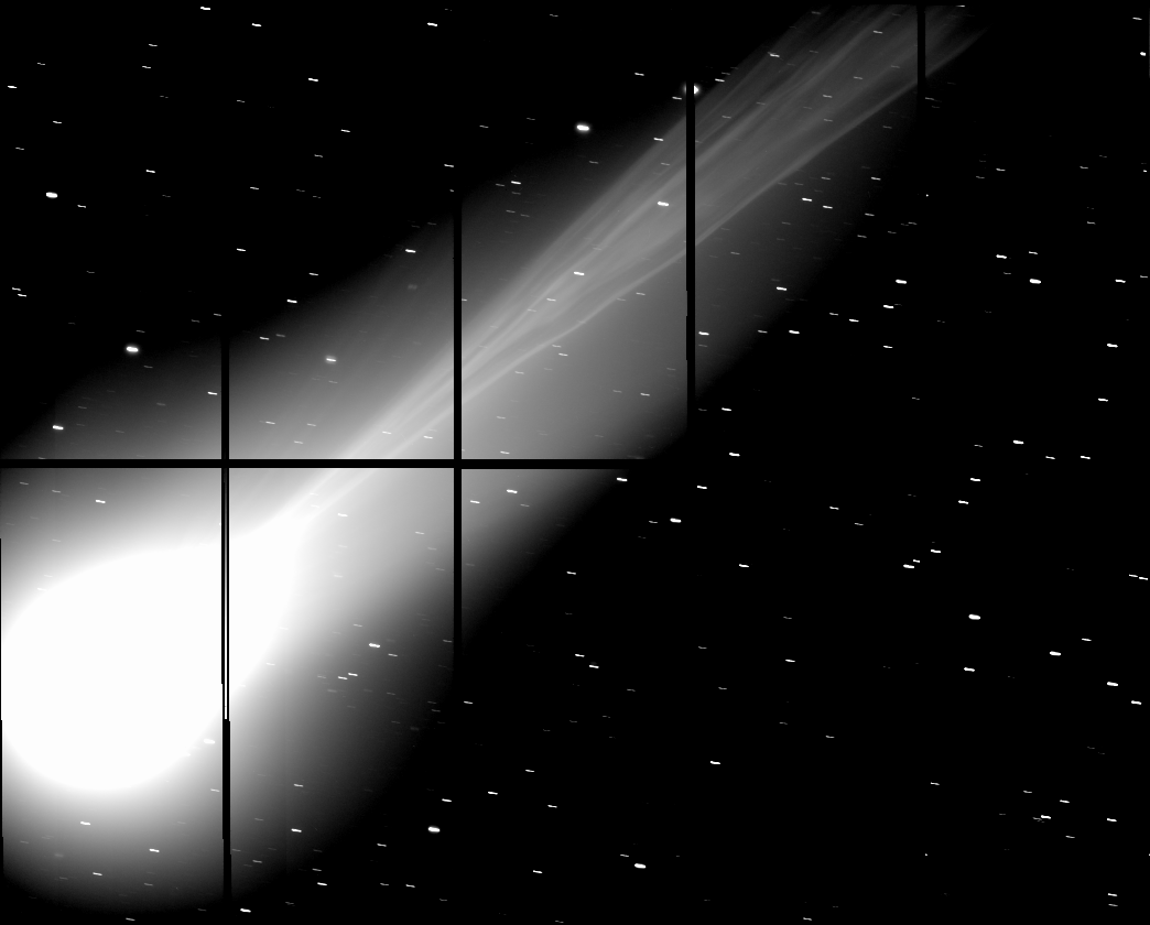 Image of comet Lovejoy's tail using SUBARU